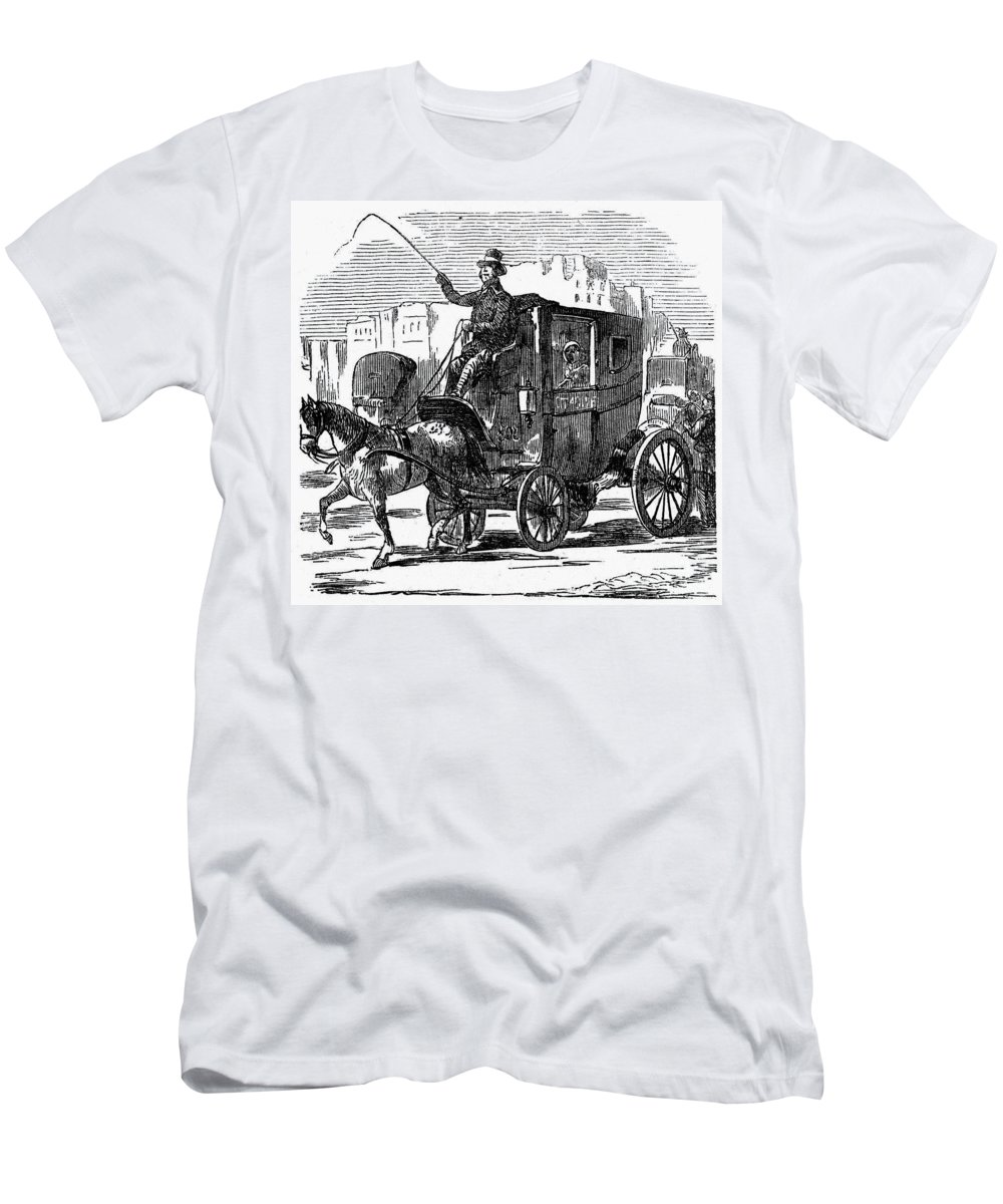 1853 Men's T-Shirt (Athletic Fit) featuring the photograph Horse Carriage, 1853 by Granger