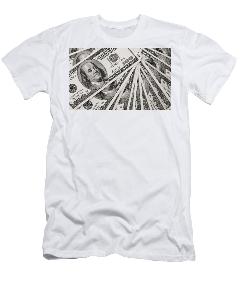 Accountant T-Shirt featuring the photograph Hundred Dollar Bills by Joe Carini - Printscapes
