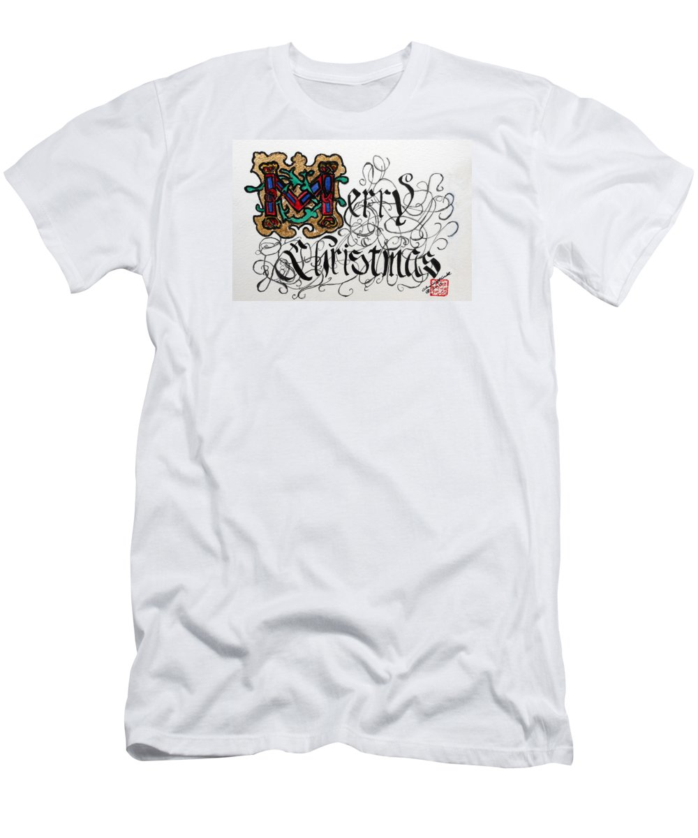 Merry Christmas Men's T-Shirt (Athletic Fit) featuring the painting Illuminated Letter M by Arlene Wright-Correll