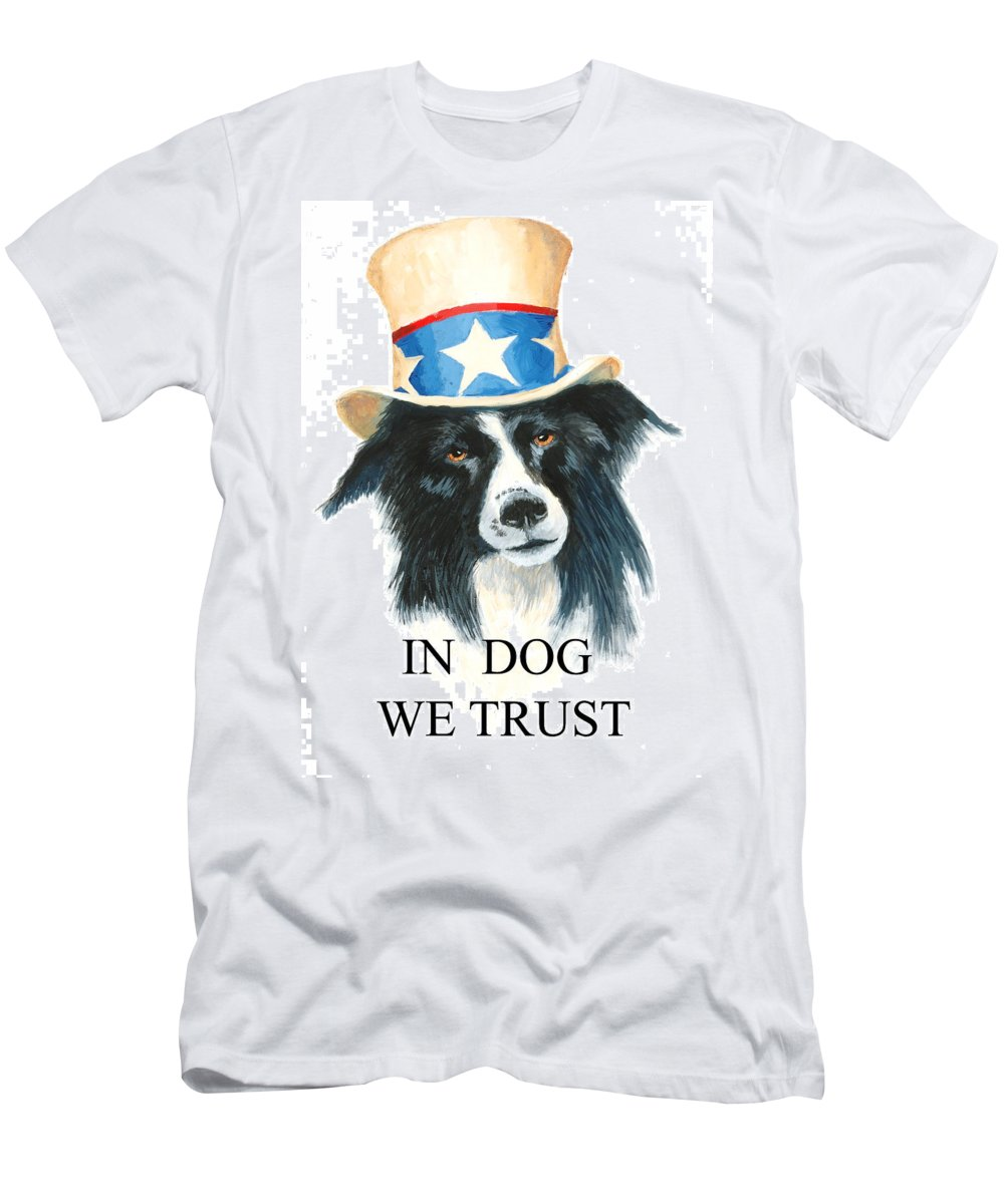 Dog Men's T-Shirt (Athletic Fit) featuring the painting In Dog We Trust Greeting Card by Jerry McElroy