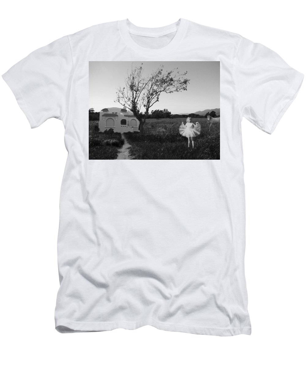 Fantasy Men's T-Shirt (Athletic Fit) featuring the photograph In My Dreams I Am A Little Girl Bw by Kathleen Grace