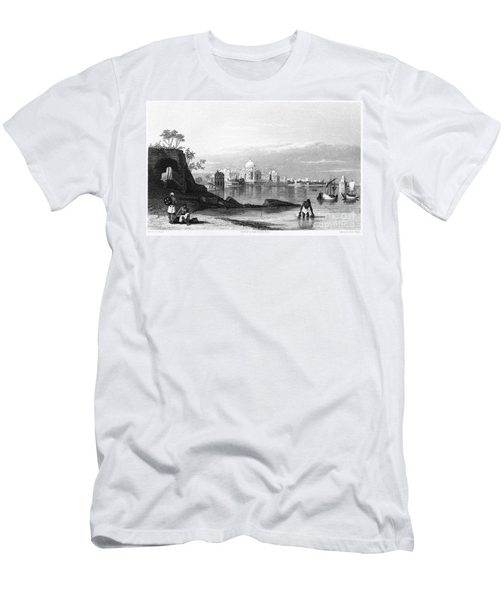 1860 Men's T-Shirt (Athletic Fit) featuring the photograph India: Taj Mahal, C1860 by Granger
