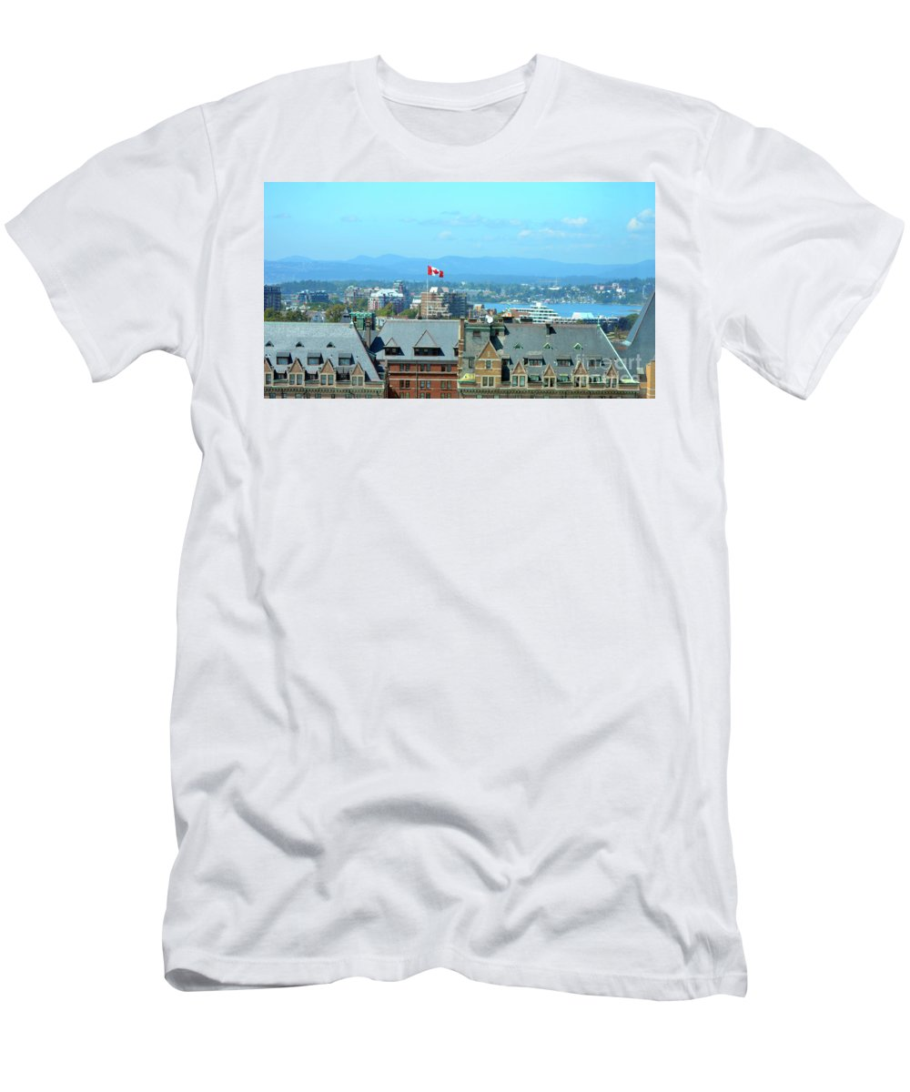 British Columbia Men's T-Shirt (Athletic Fit) featuring the photograph Inner Harbour As Seen Via Marriot Window by Traci Cottingham