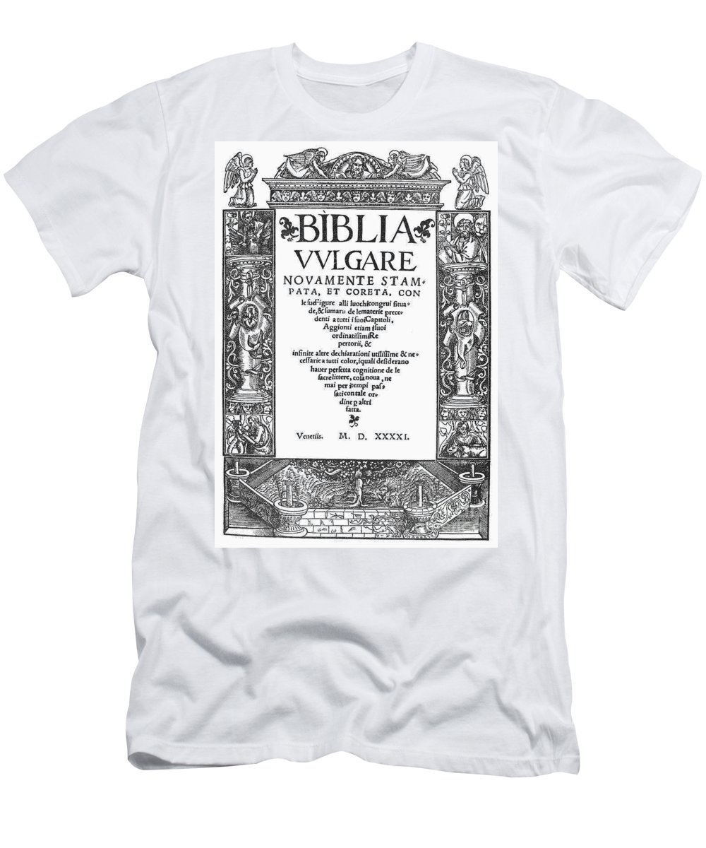 1541 Men's T-Shirt (Athletic Fit) featuring the photograph Italian Vulgate, 1541 by Granger