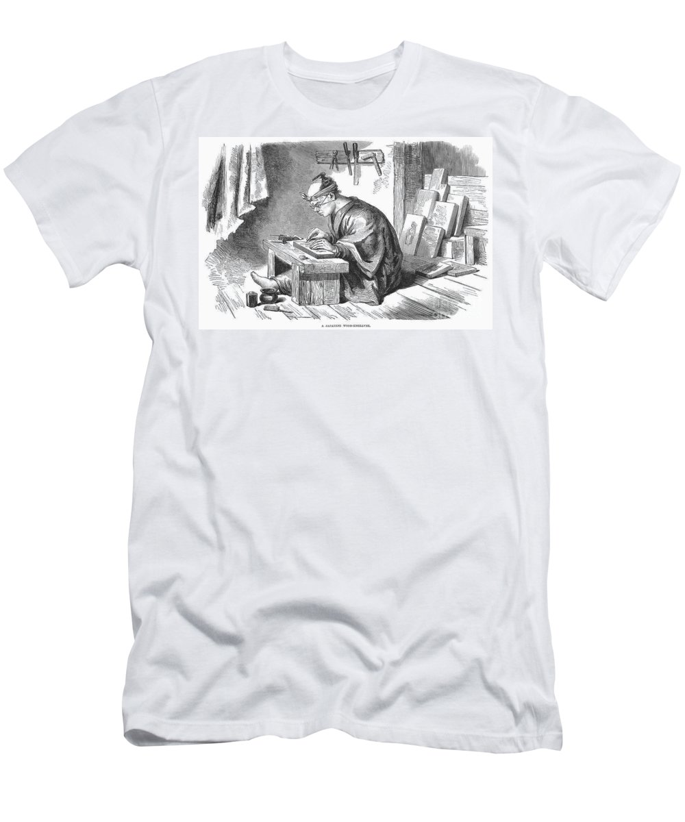 1864 Men's T-Shirt (Athletic Fit) featuring the photograph Japan: Wood Engraver by Granger