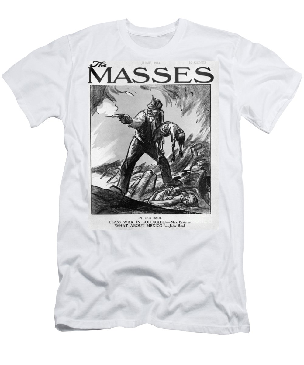 1914 Men's T-Shirt (Athletic Fit) featuring the photograph Labor Cartoon, 1914 by Granger