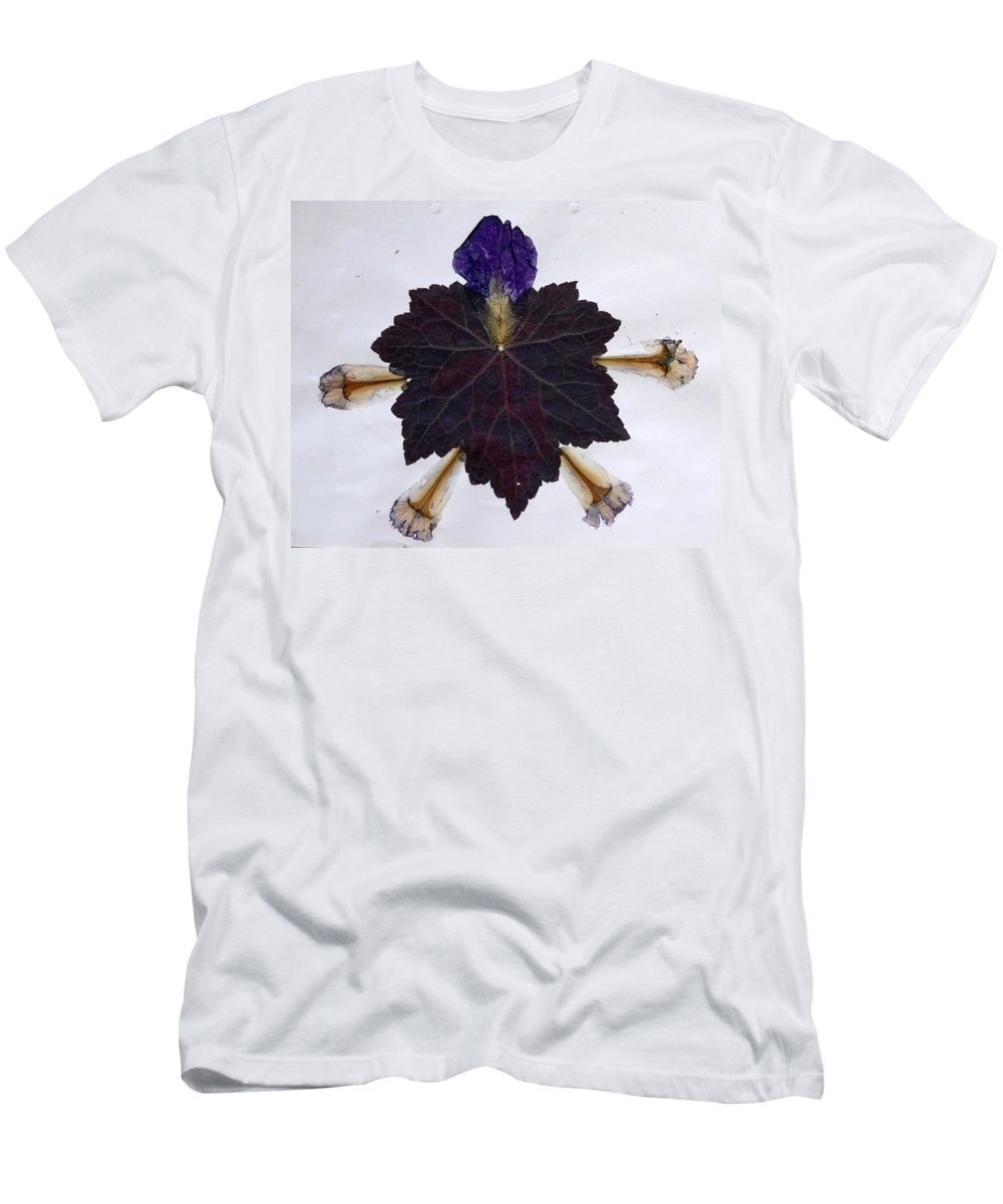 Leaf Pattern Men's T-Shirt (Athletic Fit) featuring the mixed media Leaf With Petals by Basant Soni