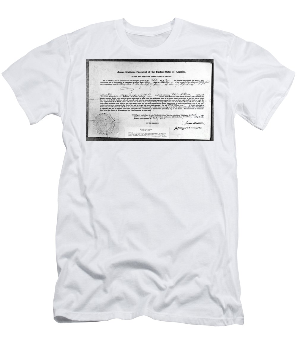 1812 Men's T-Shirt (Athletic Fit) featuring the photograph Letter Of Marque, 1812 by Granger