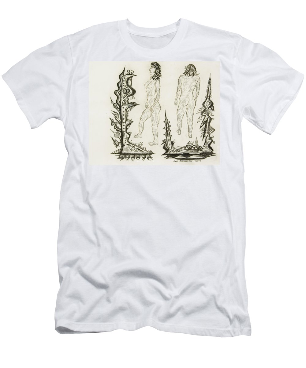 Live Nude Men's T-Shirt (Athletic Fit) featuring the painting Live Nude 18 Female by Robert SORENSEN