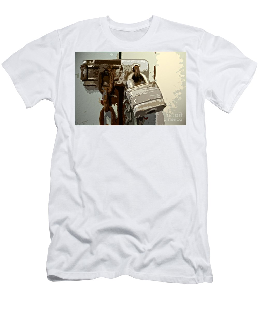 Lock Men's T-Shirt (Athletic Fit) featuring the photograph Lock And Chain by Gwyn Newcombe