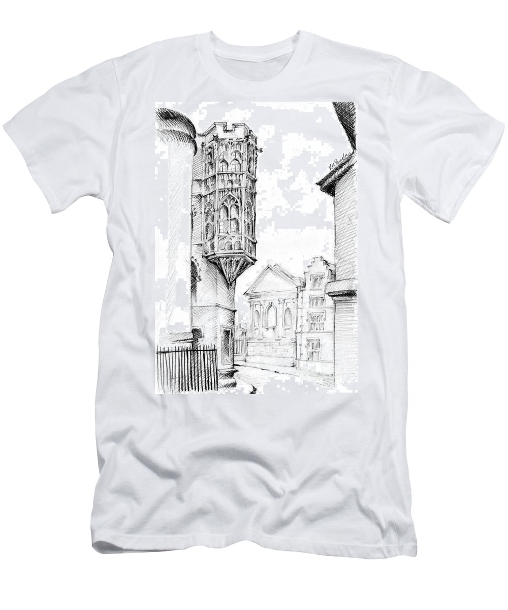 City Men's T-Shirt (Athletic Fit) featuring the drawing Lofty Heights by K M Pawelec