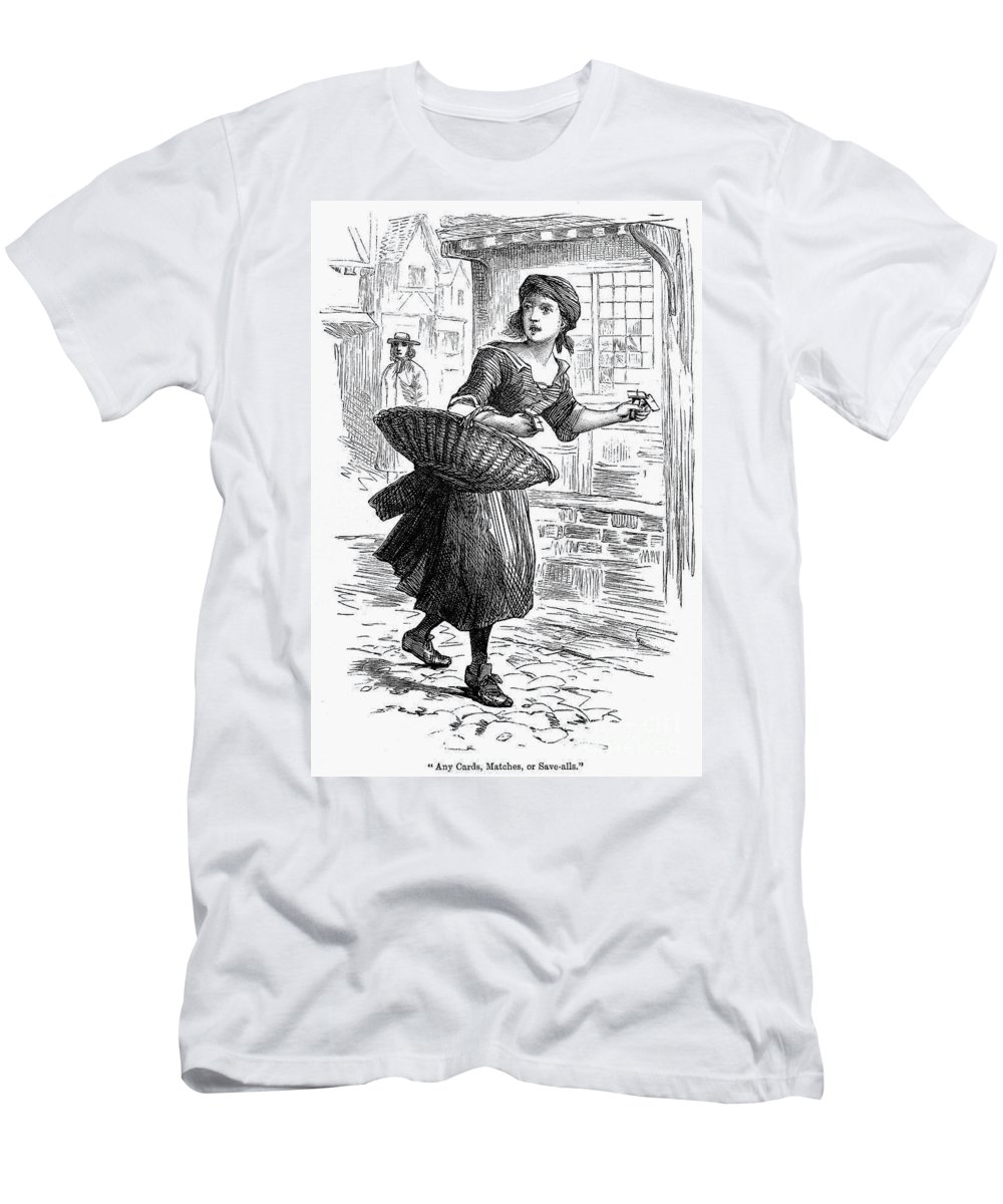 19th Century Men's T-Shirt (Athletic Fit) featuring the photograph London: Match-girl by Granger