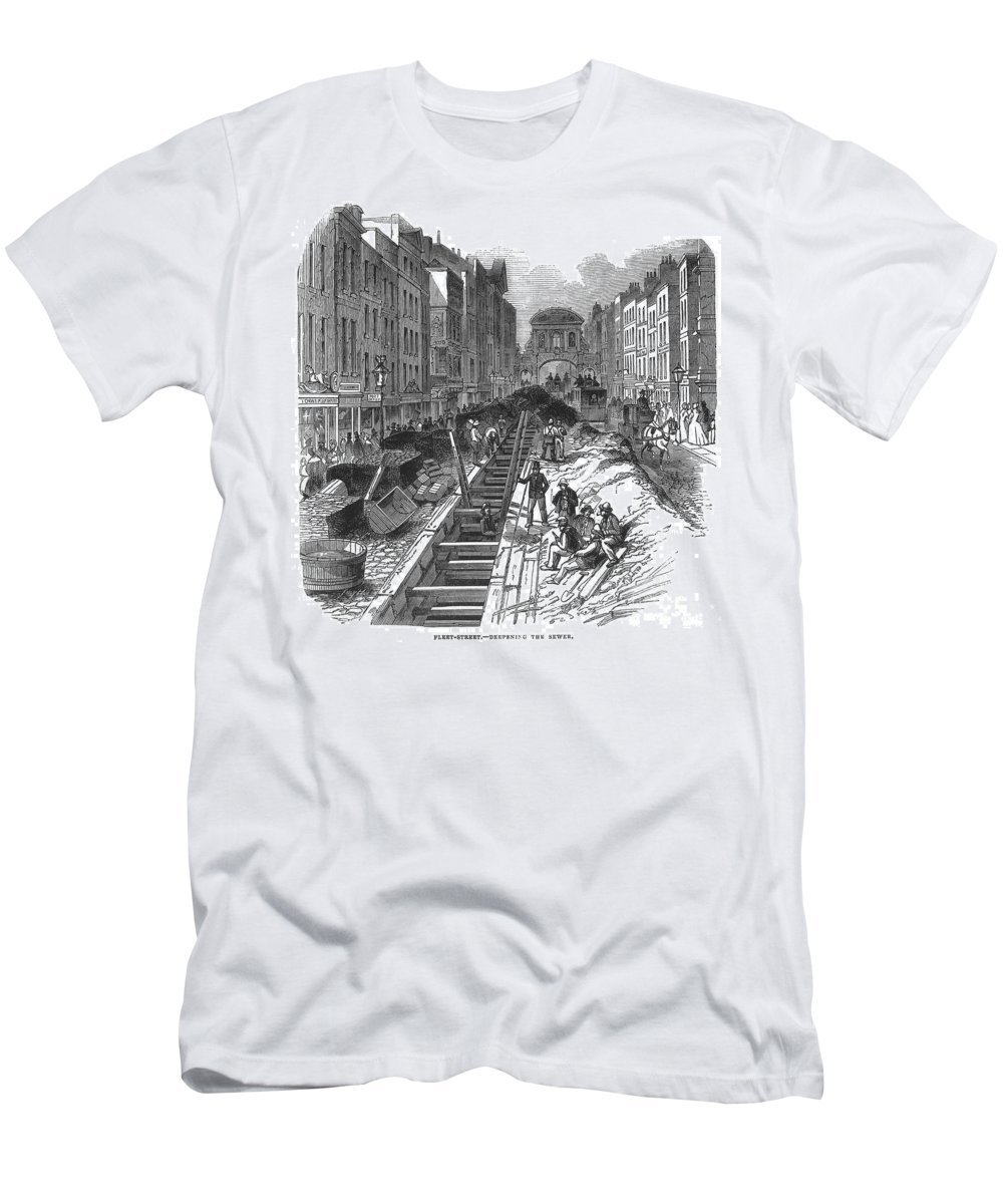 1845 Men's T-Shirt (Athletic Fit) featuring the photograph London:fleet Street Sewer by Granger