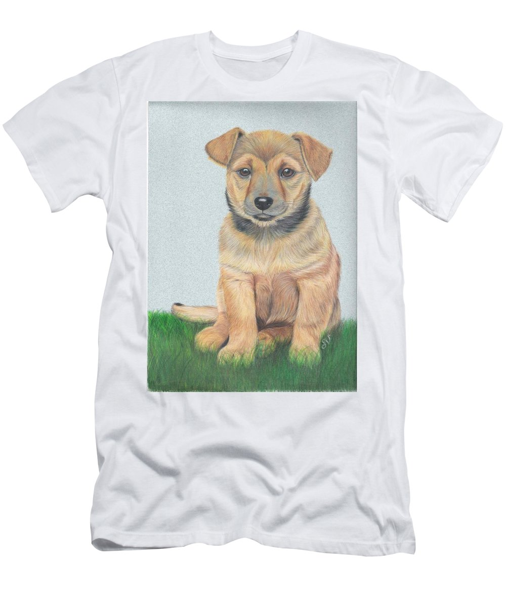 Dog Men's T-Shirt (Athletic Fit) featuring the painting Lonely Dog by S V