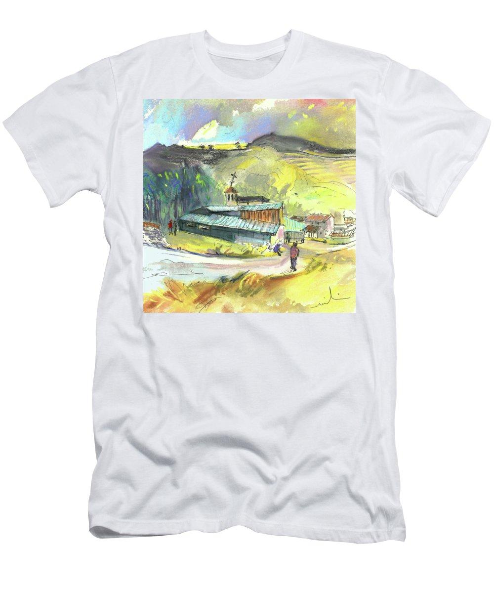 Spain Men's T-Shirt (Athletic Fit) featuring the painting Los Olmos De Penafiel In Spain 01 by Miki De Goodaboom