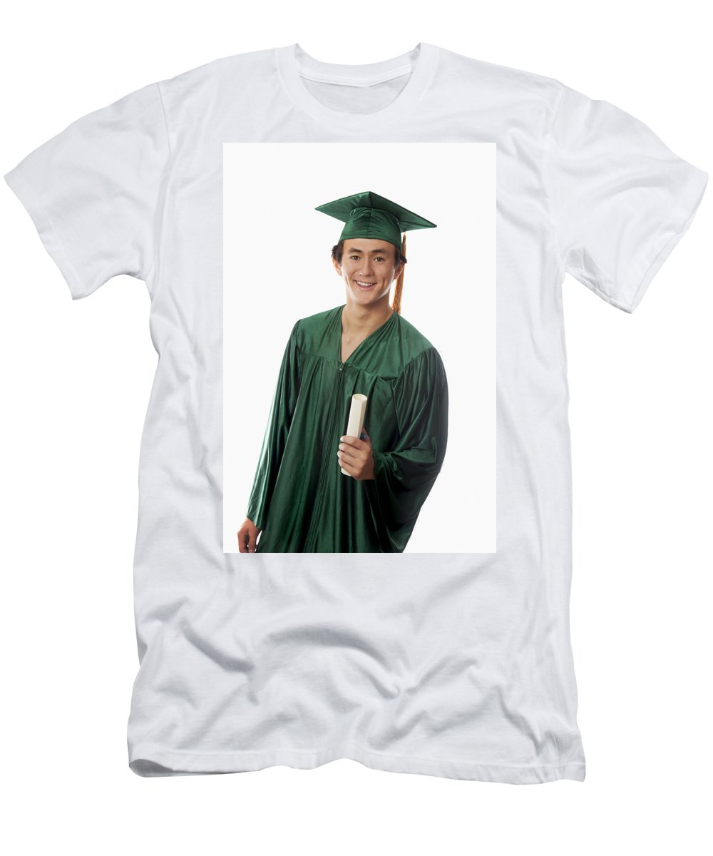 Accomplish Men's T-Shirt (Athletic Fit) featuring the photograph Male Graduate by Tomas del Amo