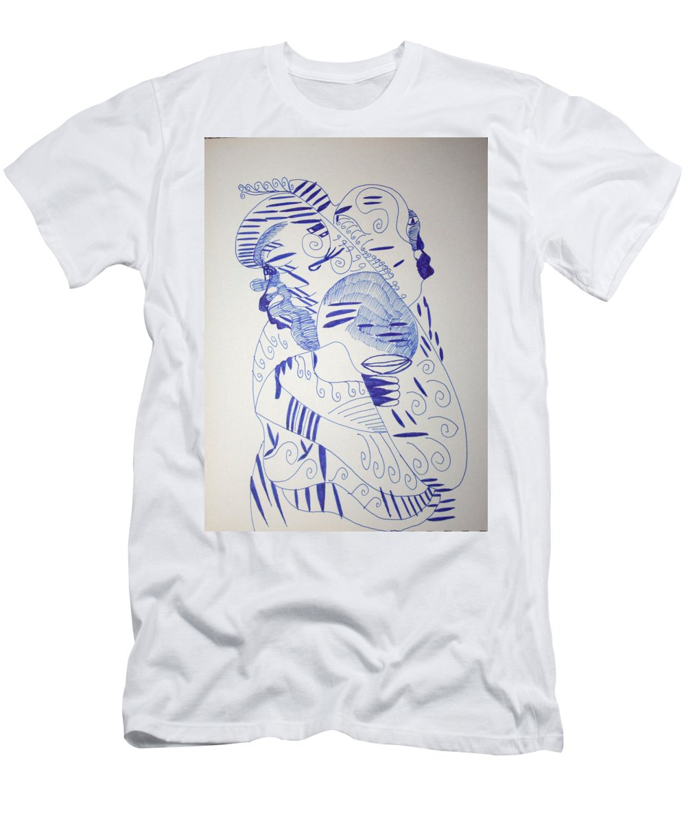 Jesus Men's T-Shirt (Athletic Fit) featuring the drawing Mama Ne Tata 1 by Gloria Ssali
