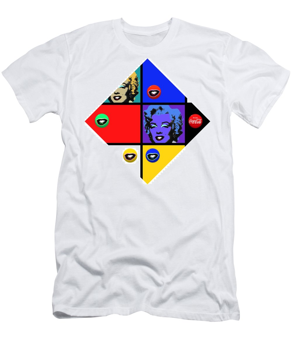 Andy Warhol Men's T-Shirt (Athletic Fit) featuring the painting Marilyn De Stijl by Charles Stuart