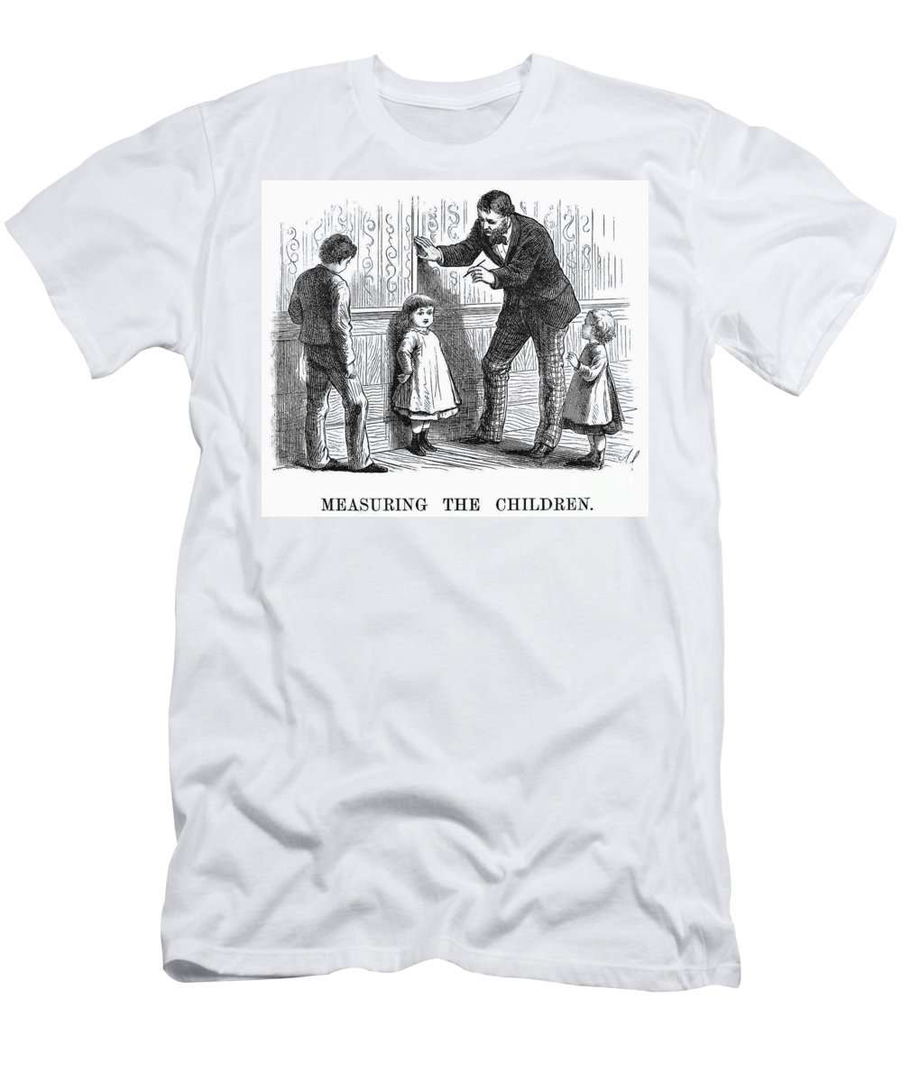 1876 Men's T-Shirt (Athletic Fit) featuring the photograph Measuring Children, 1876 by Granger