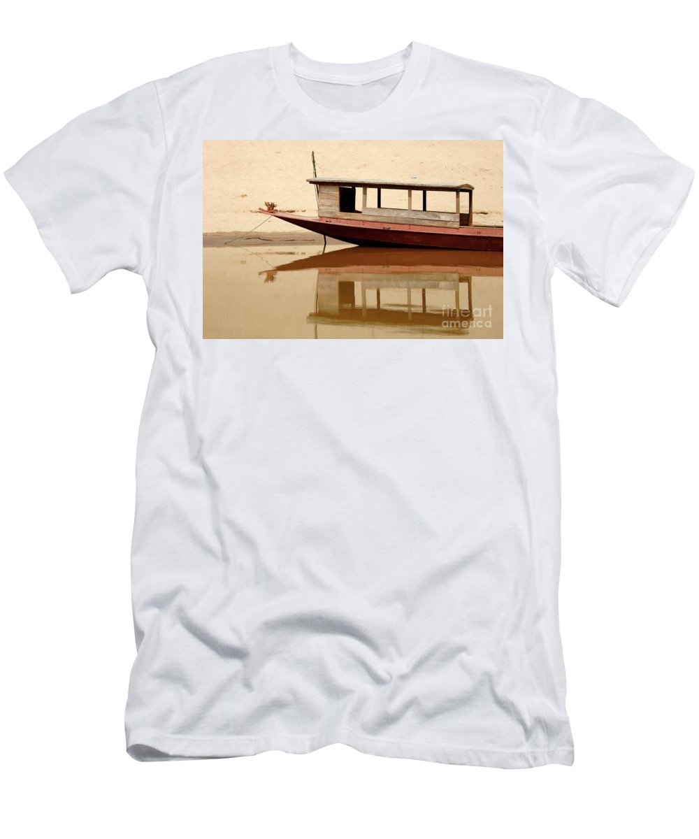 Reflection Men's T-Shirt (Athletic Fit) featuring the photograph Mekong Reflection 2 by Bob Christopher