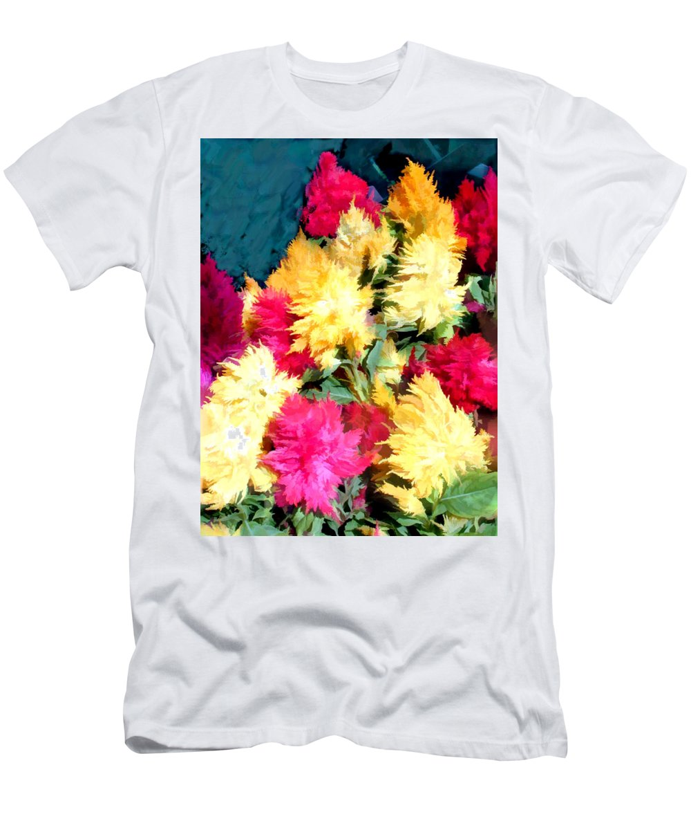 Flower Flowers Garden Celosias Flora Floral Nature Cockscomb Cockscombs Feathery Red Pink Yellow Gold Plumes Plume Celosia Natural Bloom Blooms Blossoms Blossom Bouquet Arrangement Colorful Plant Plants Botanical Botanic Blooming Gardens Gardening Tropical Men's T-Shirt (Athletic Fit) featuring the painting Mixed Celosias In Fall Colors by Elaine Plesser