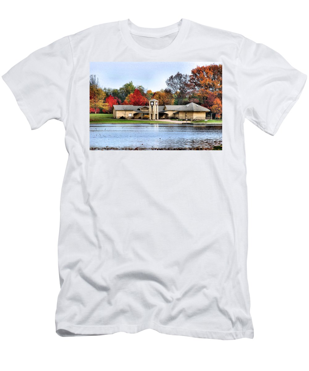 Monroe Falls State Park Men's T-Shirt (Athletic Fit) featuring the photograph Monroe Falls Park by Kristin Elmquist