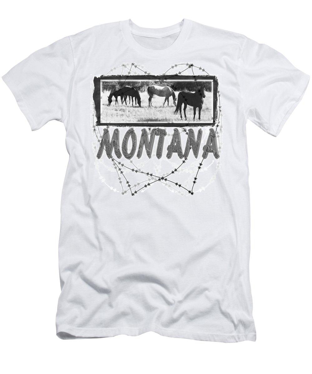 Montana Art T-Shirt featuring the digital art Montana Horse Design by Susan Kinney