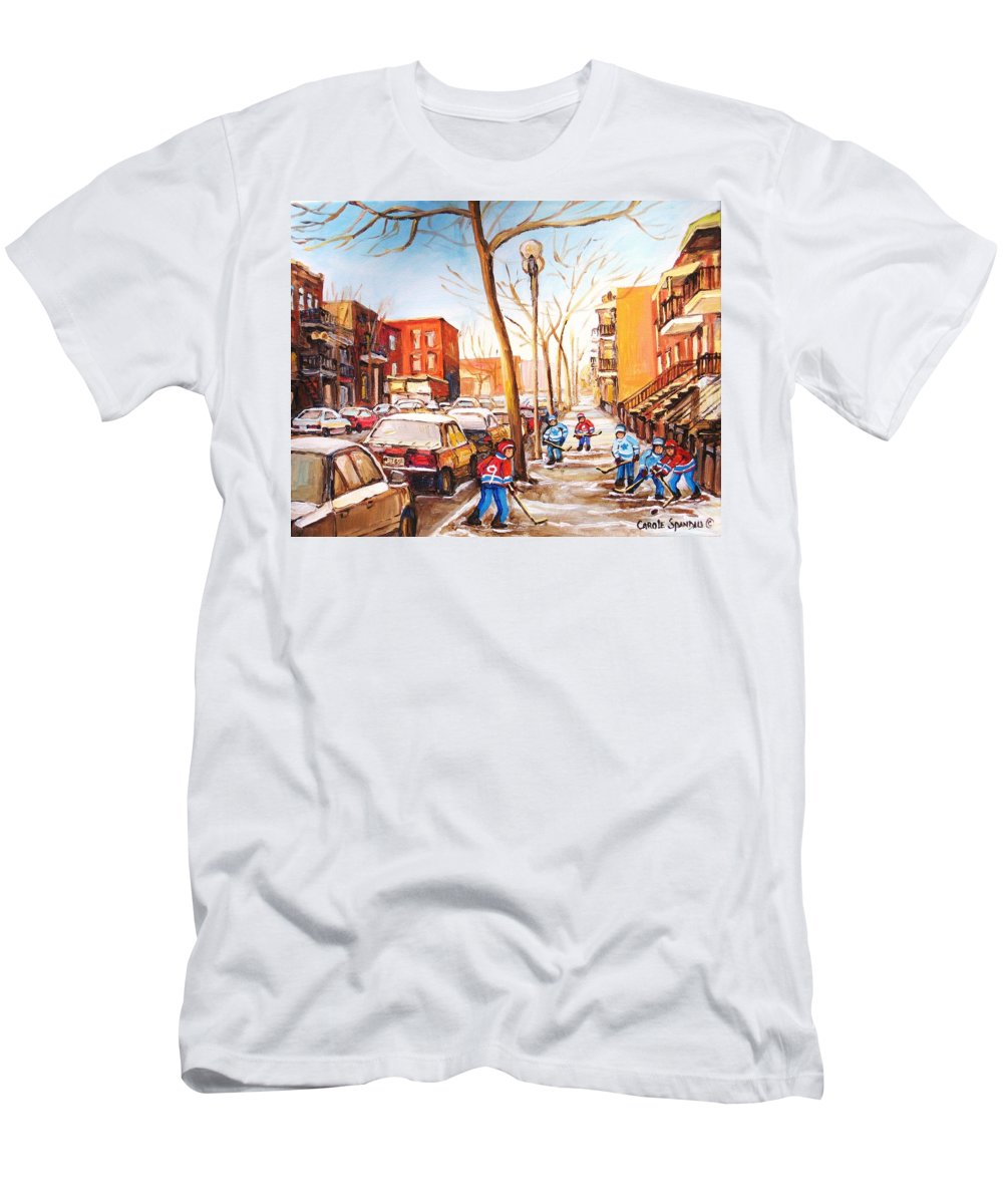 Montreal Street Scene With Boys Playing Hockey T-Shirt featuring the painting Montreal street with six boys playing hockey by Carole Spandau