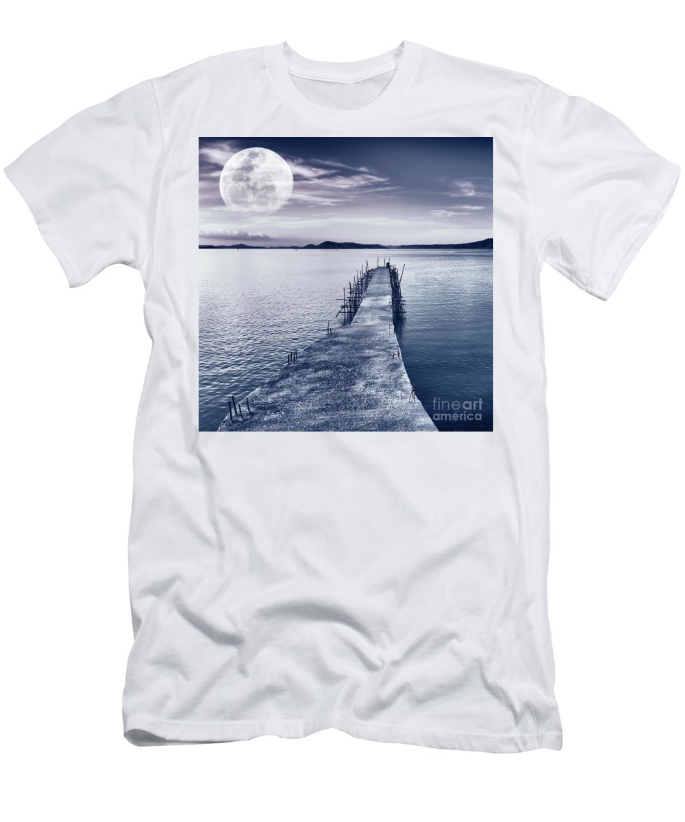 Moonlight Men's T-Shirt (Athletic Fit) featuring the photograph Moon by MotHaiBaPhoto Prints