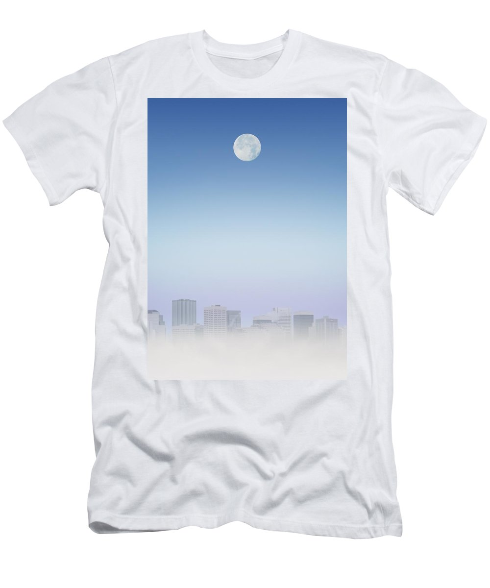 Business Men's T-Shirt (Athletic Fit) featuring the photograph Moon Over Buildings by Kelly Redinger