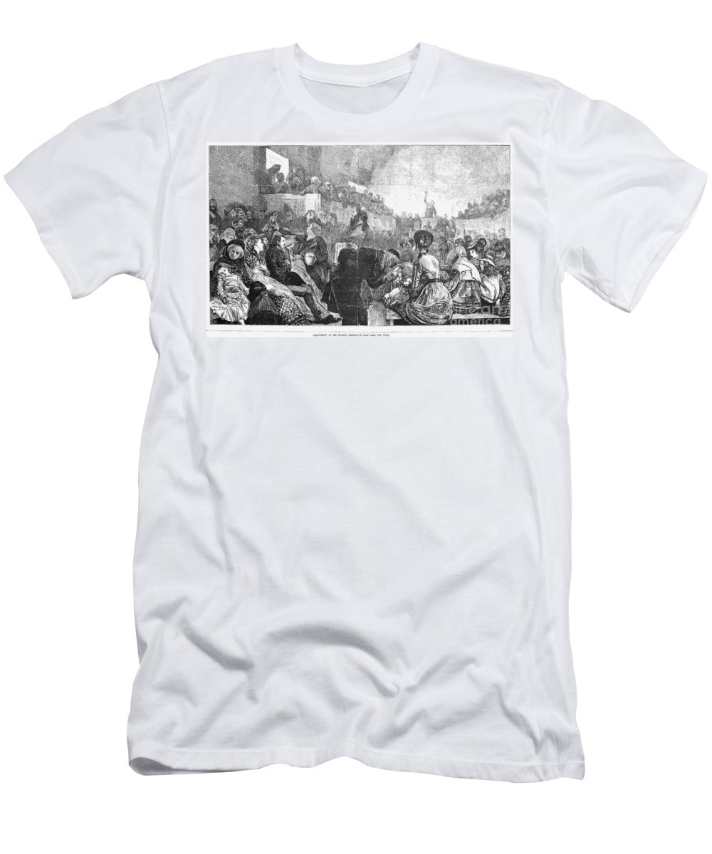 1871 Men's T-Shirt (Athletic Fit) featuring the photograph Mormon Service, 1871 by Granger