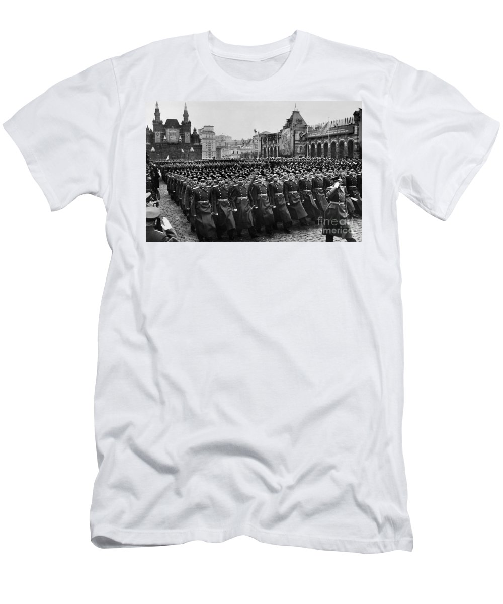 1957 Men's T-Shirt (Athletic Fit) featuring the photograph Moscow: Troop Review, 1957 by Granger