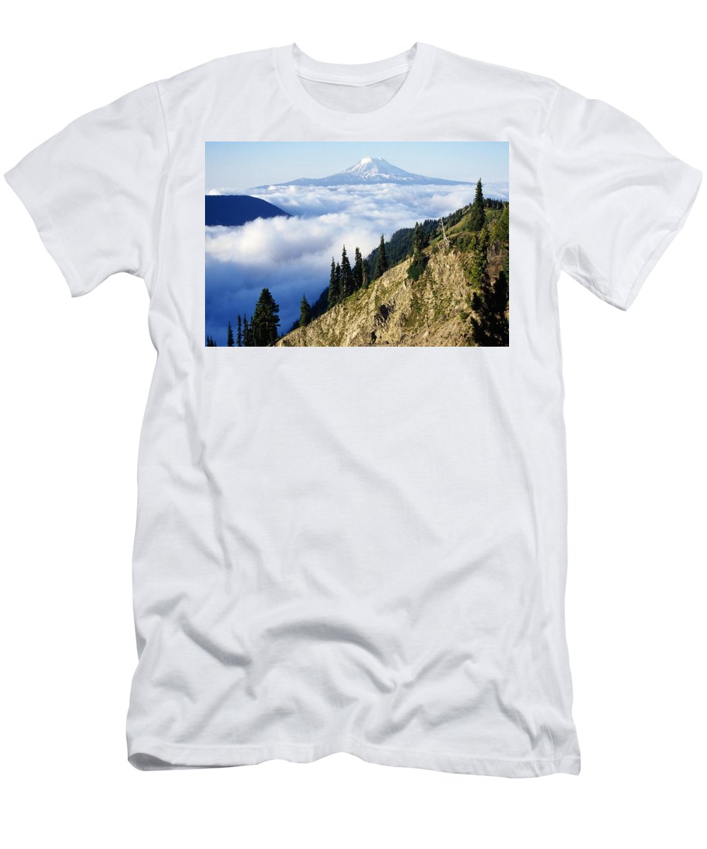 Clouds Men's T-Shirt (Athletic Fit) featuring the photograph Mount Adams Above Cloud-filled Valley by Dan Sherwood
