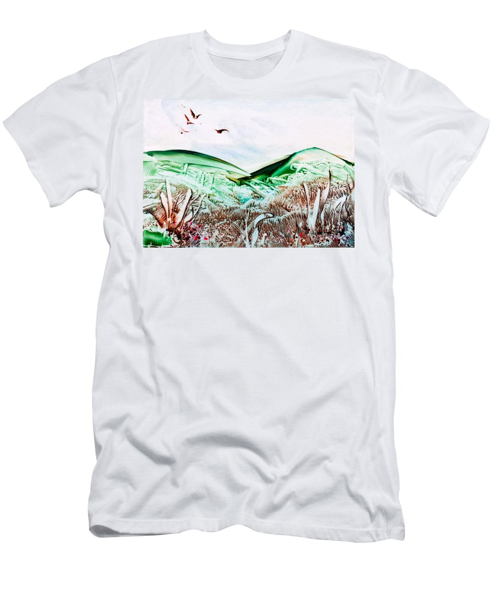 Country Men's T-Shirt (Athletic Fit) featuring the painting Mountain Scene by Simon Bratt Photography LRPS