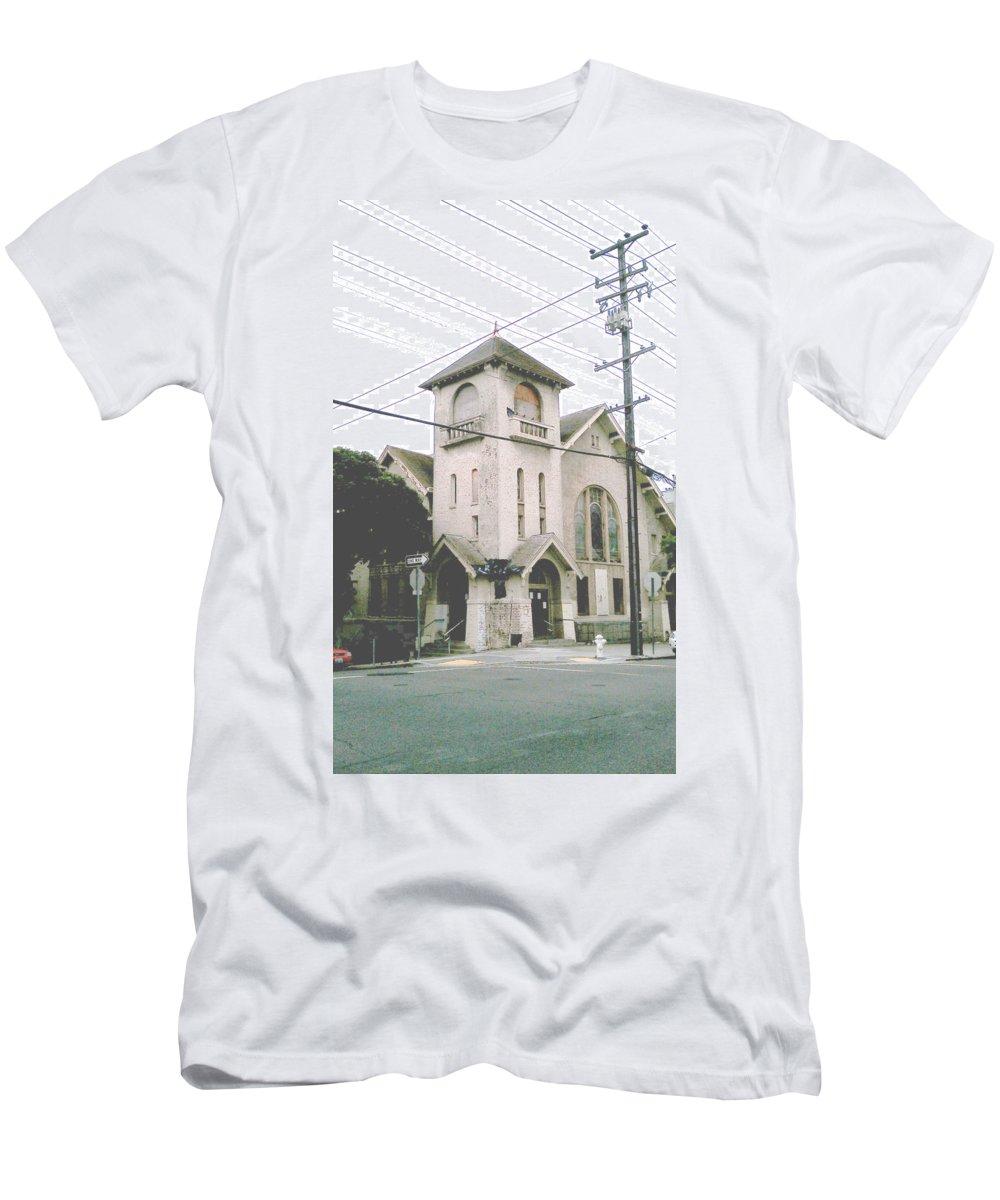 Moveonart! Global Gathering. -- Digital Photo On Daily Walk By Artist Jacob Kane -- Omnetra Men's T-Shirt (Athletic Fit) featuring the digital art Moveonart Abandonedsanfranciscochurch by Jacob Kanduch