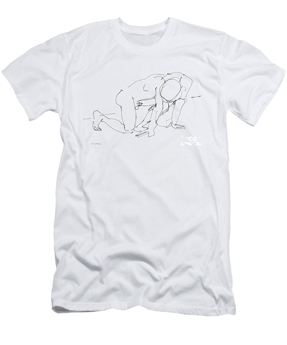 Male Men's T-Shirt (Athletic Fit) featuring the drawing Naked-man-art-18 by Gordon Punt