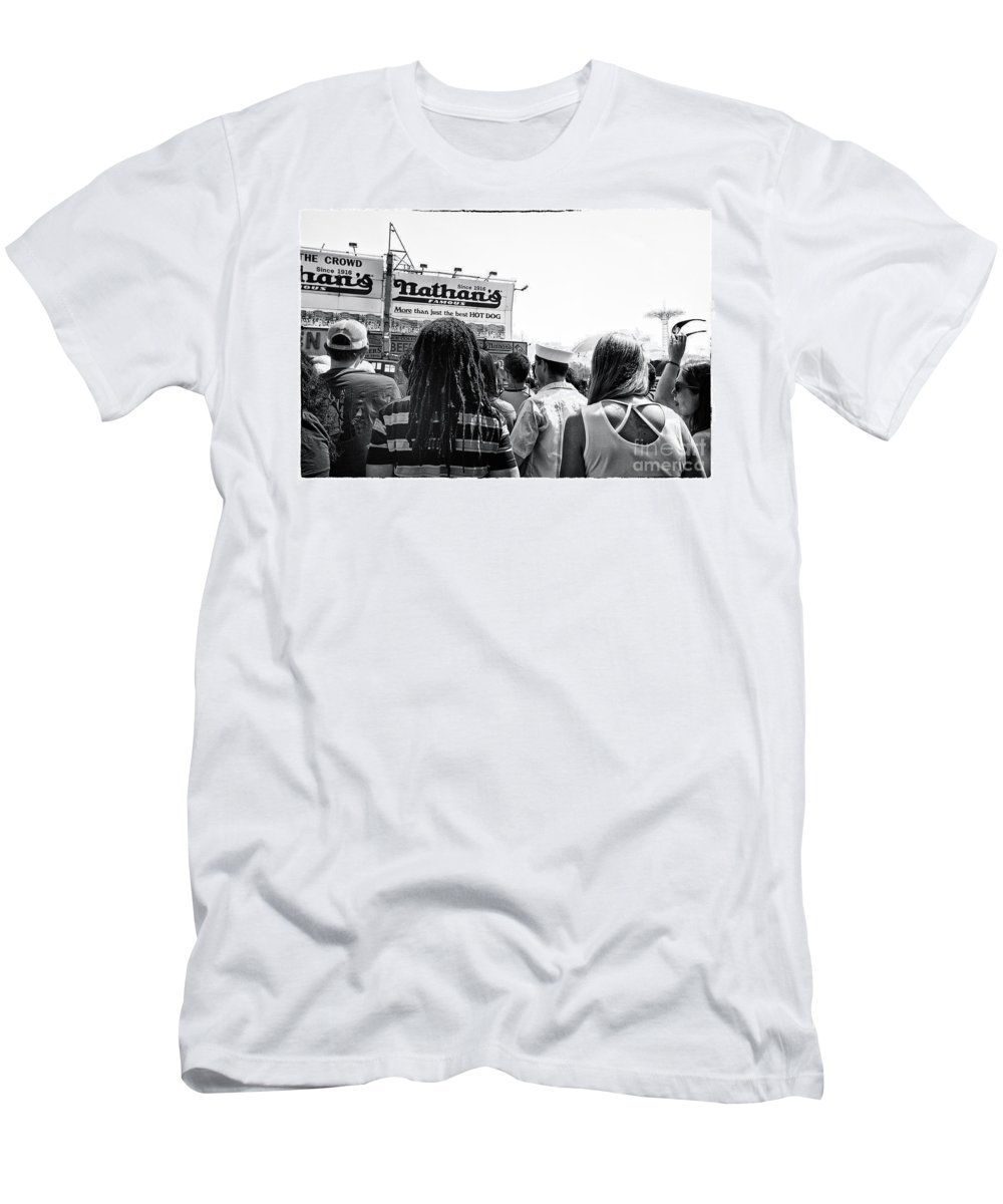 Nathan's Men's T-Shirt (Athletic Fit) featuring the photograph Nathan's Crowd In Coney Island 2 by Madeline Ellis