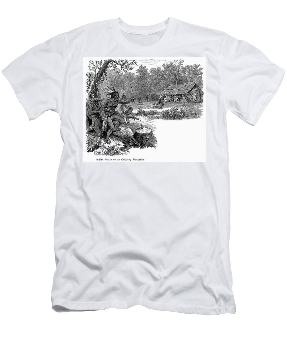 1640 Men's T-Shirt (Athletic Fit) featuring the photograph Native American Attack, C1640 by Granger