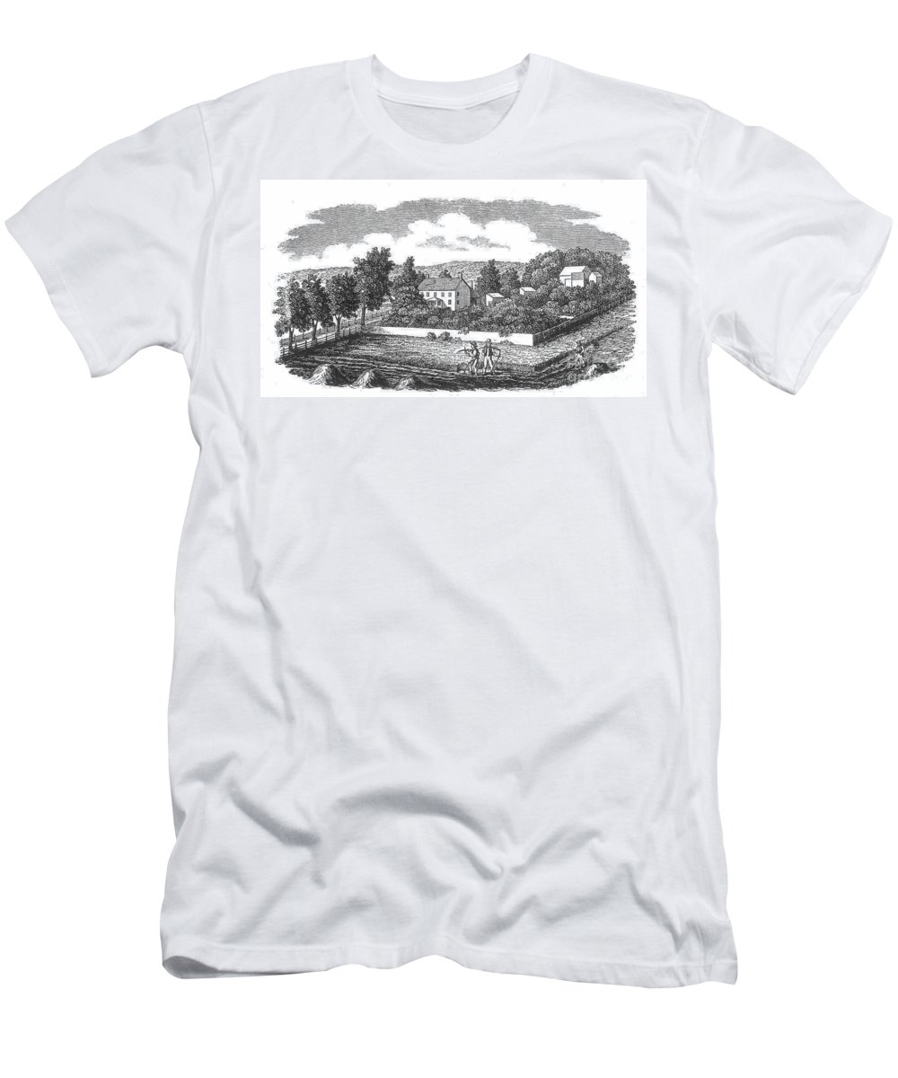 1810 Men's T-Shirt (Athletic Fit) featuring the photograph New Jersey Farm, C1810 by Granger