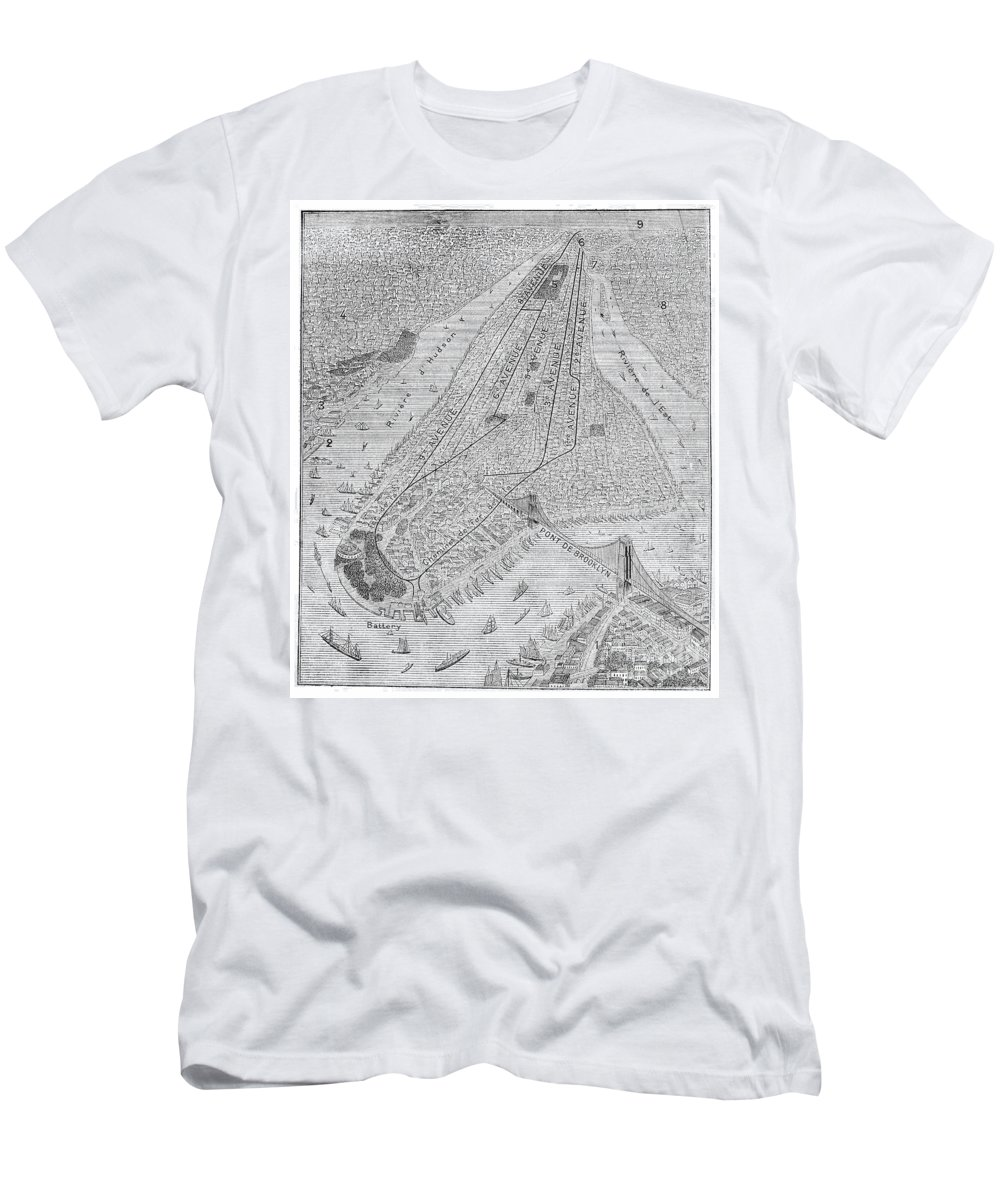 1878 Men's T-Shirt (Athletic Fit) featuring the photograph New York: El Train, C1878 by Granger