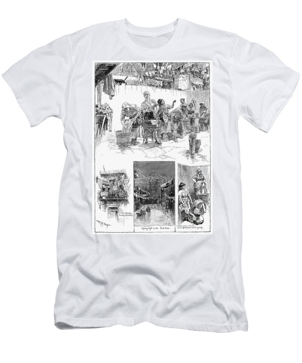 1889 Men's T-Shirt (Athletic Fit) featuring the photograph New York: Wash Day, 1889 by Granger