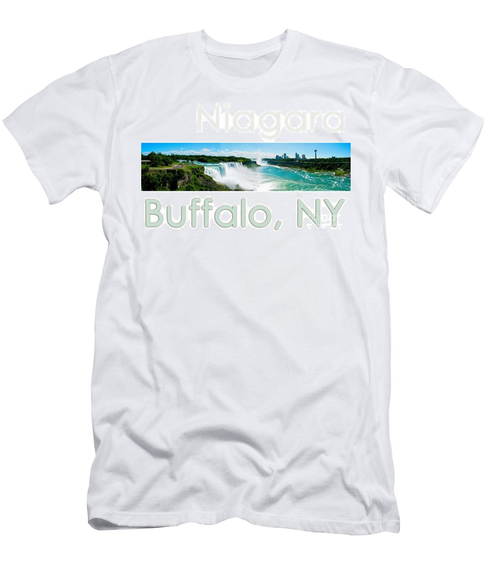 Niagara Falls Men's T-Shirt (Athletic Fit) featuring the photograph Niagara Falls Day Panorama by Syed Aqueel