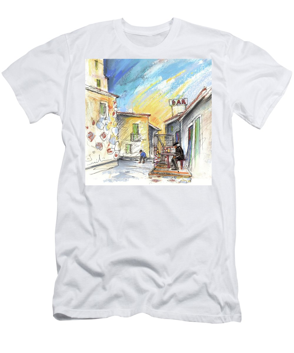 Spain Men's T-Shirt (Athletic Fit) featuring the painting Old And Lonely In Spain 03 by Miki De Goodaboom
