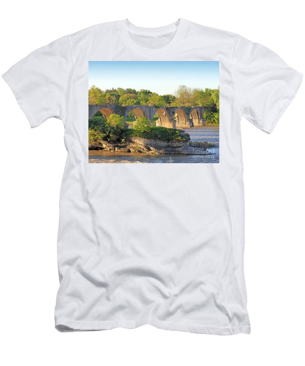 Interurban Bridge Men's T-Shirt (Athletic Fit) featuring the photograph Old Interurban Bridge by Jack Schultz