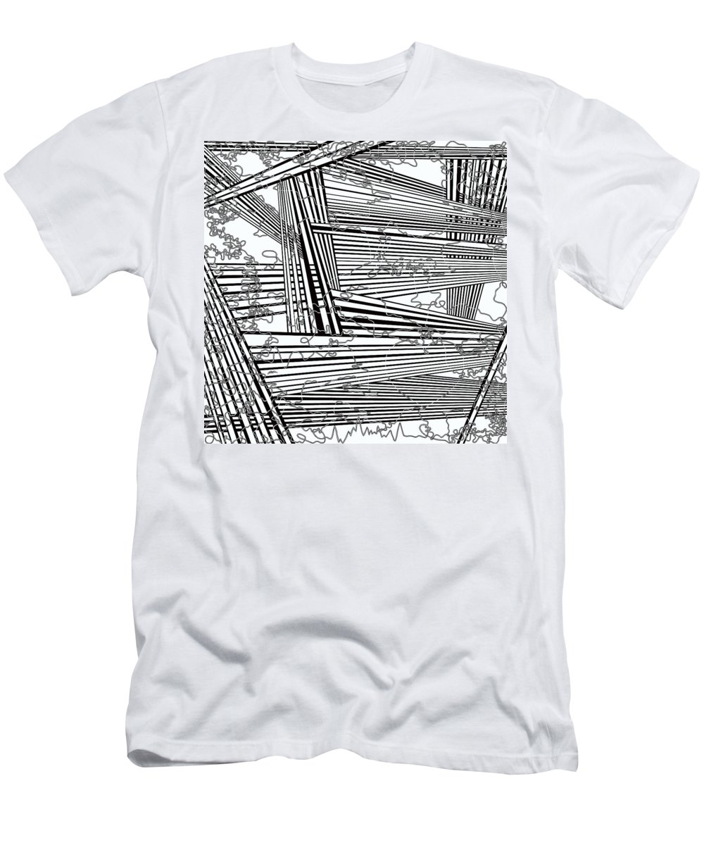 Black And White Men's T-Shirt (Athletic Fit) featuring the painting One 22 by Douglas Christian Larsen
