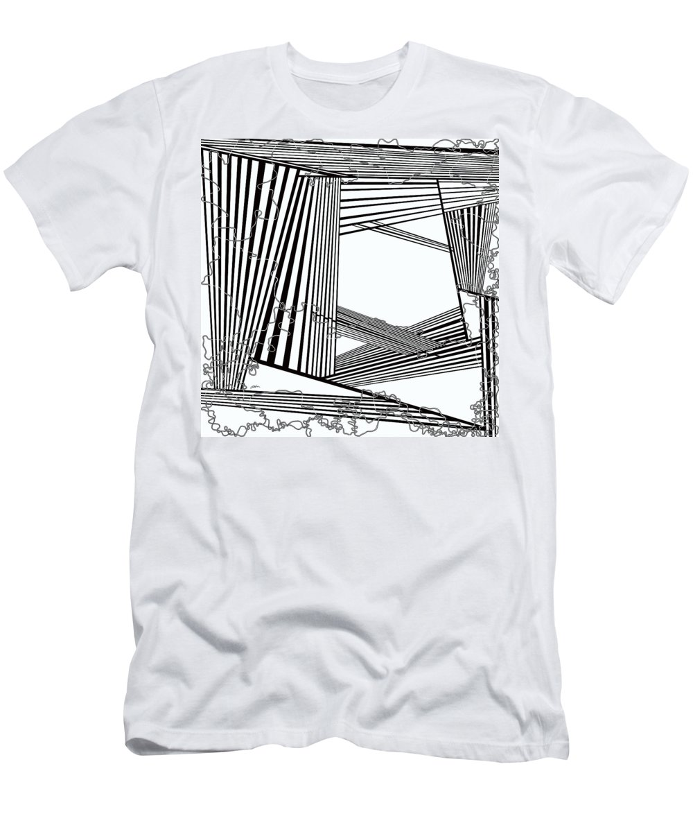 Black And White Men's T-Shirt (Athletic Fit) featuring the painting One 23 by Douglas Christian Larsen
