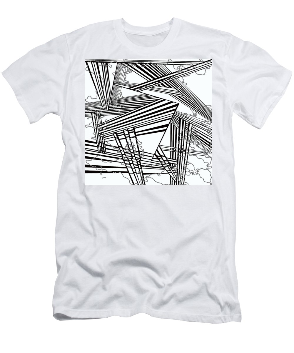 Black And White Men's T-Shirt (Athletic Fit) featuring the painting One 25 by Douglas Christian Larsen