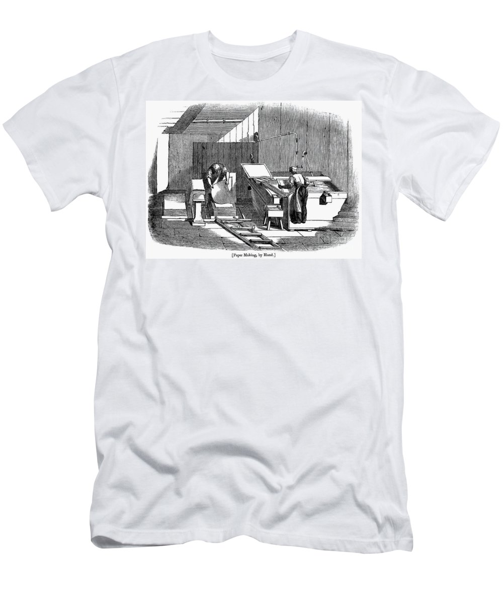 1833 Men's T-Shirt (Athletic Fit) featuring the photograph Papermaking, 1833 by Granger