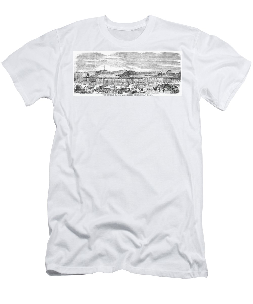 1857 Men's T-Shirt (Athletic Fit) featuring the photograph Paris: Les Halles, 1858 by Granger