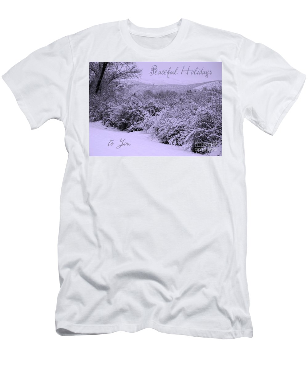 Peaceful Holiday Card Men's T-Shirt (Athletic Fit) featuring the photograph Peaceful Holidays To You by Carol Groenen